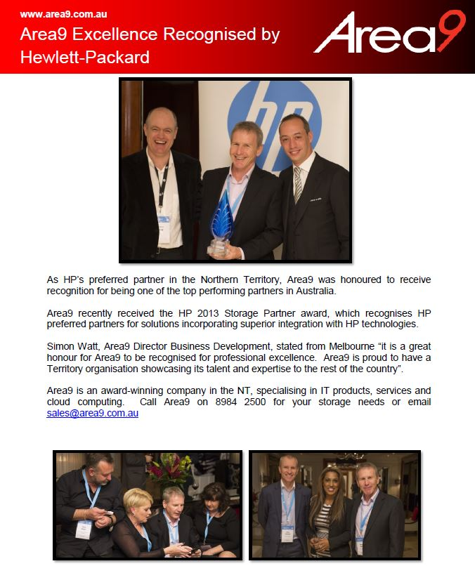 Area9 Excellence Recognised by HP
