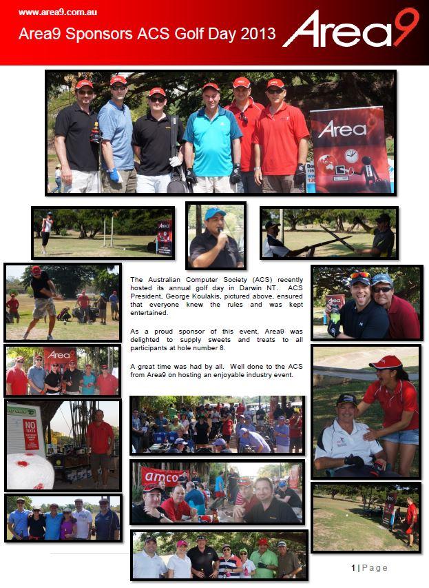 Area9 Sponsors Australian Computer Society Golf Day 2013