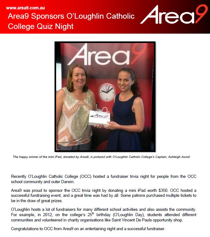Area9 Sponsors O'Loughlin Catholic College Quiz Night