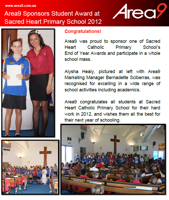 Area9 Sponsors Student Award at Sacred Heart Primary School 2012