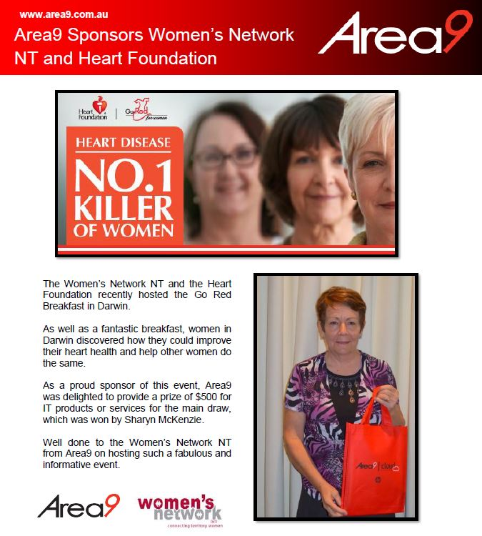 Area9 Sponsors Women's Network NT and Heart Foundation
