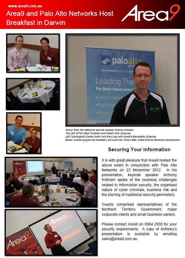 Area9 and Palo Alto Networks Host Breakfast in Darwin