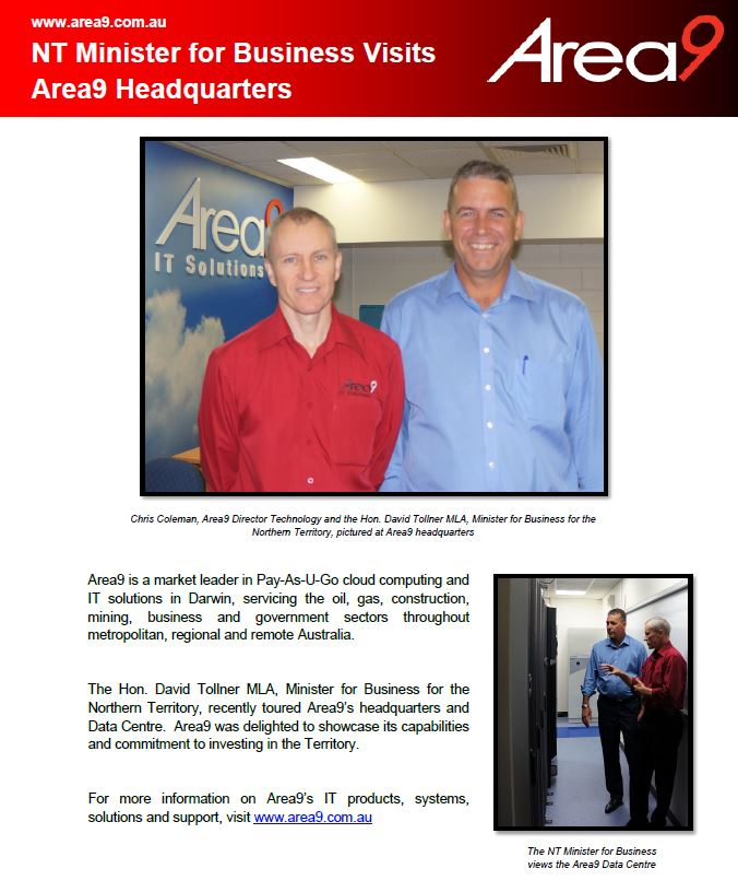 NT Minister for Business Visits Area9 Headquarters